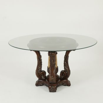 Rnd. Cntr Table + Glass Top